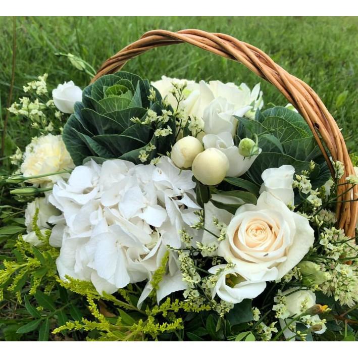 """Basket """"White hydrangea"""""""