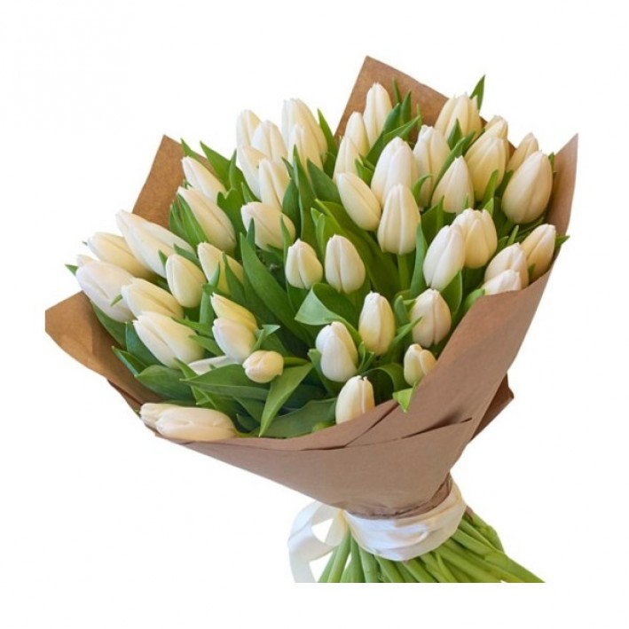 25 white tulips in craft