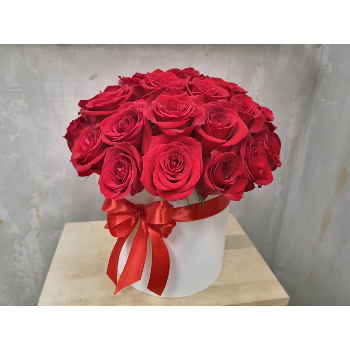 35 red roses in a box