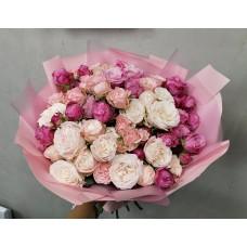 15 peony spray roses mix