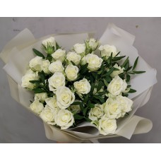 9 white shrub roses in craft paper
