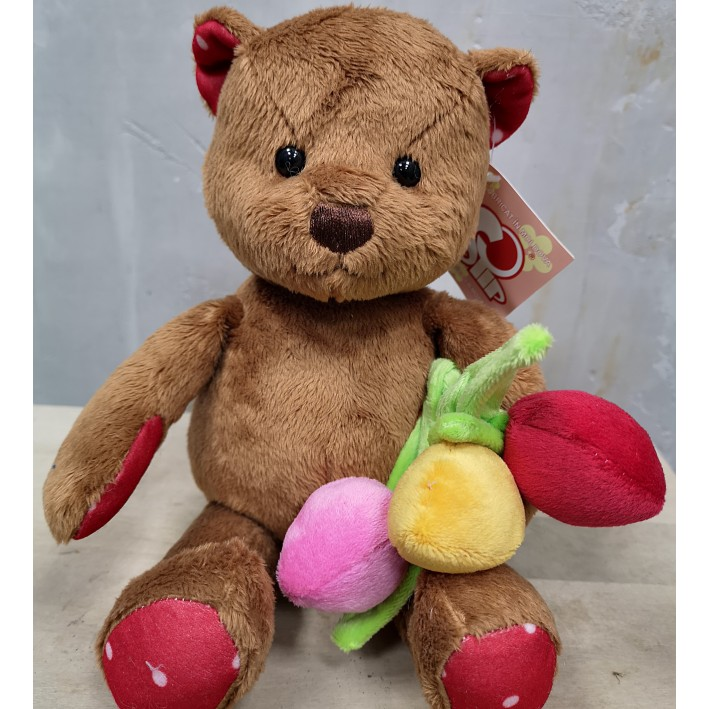 Teddy bear with tulips 30 cm