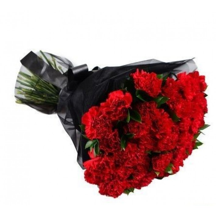 20 red carnations in the design