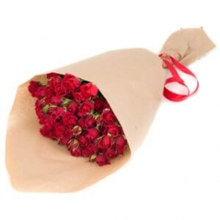 9 red shrub roses in craft paper