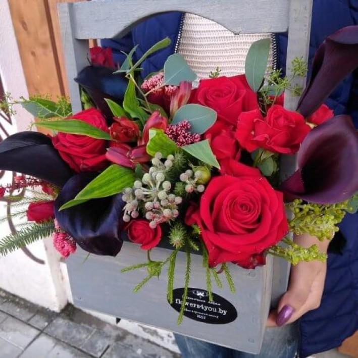 "Wooden box ""Black Callas"""