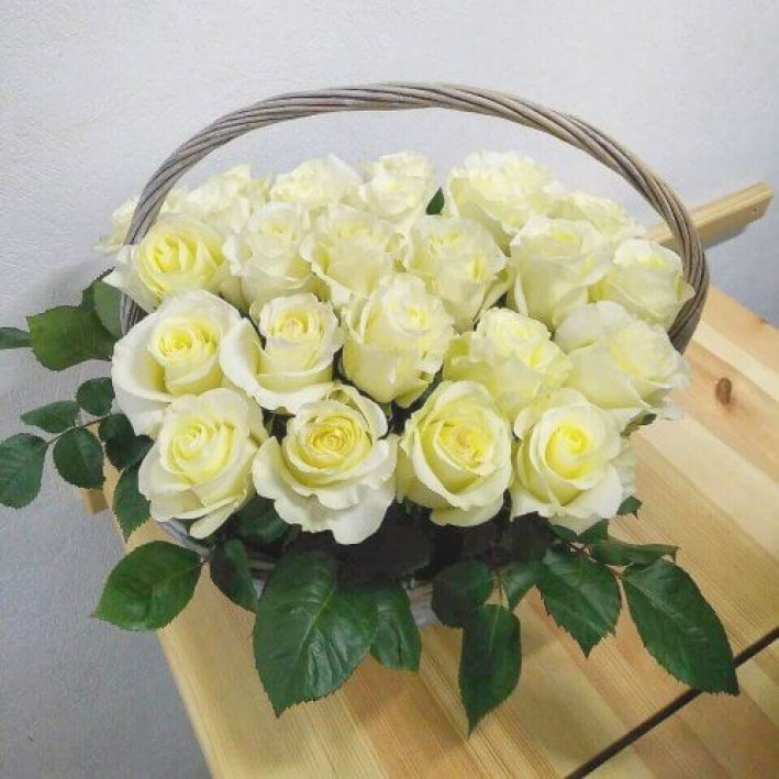 Basket of 25 white roses