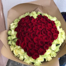 Bouquet of roses in the shape of a heart