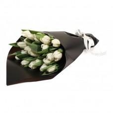 25 white tulips in black paper
